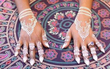 стиль, кольцо, руки, маникюр, мехенди, боди-арт, хна