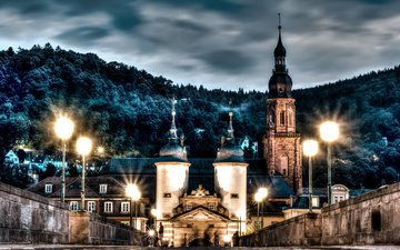 ночь, огни, мост, замок, город, германия, гейдельберг