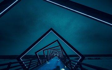 ночь, мост, подсветка, архитектура