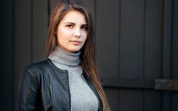 девушка, модель, карие глаза, кожаная куртка, sergey smirnov