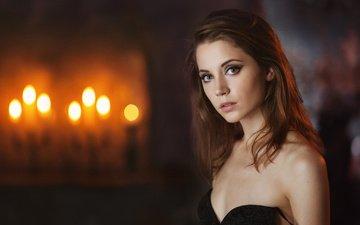 свечи, девушка, взгляд, модель, волосы, лицо, голые плечи, ксения кокорева, максим максимов