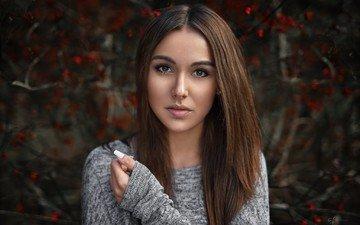 girl, portrait, branches, look, model, hair, face, berries, alex fetter