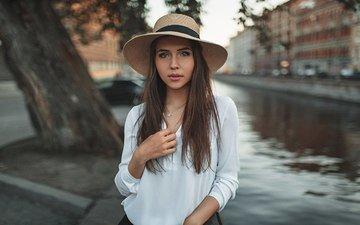 girl, portrait, look, model, hair, face, hat, shirt, bokeh, alexey slesarev