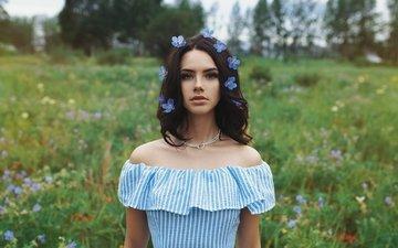 девушка, портрет, брюнетка, взгляд, модель, волосы, лицо, колье, голубые цветы, голые плечи