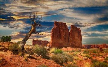 the sky, clouds, rocks, landscape, desert, bryce canyon, national park