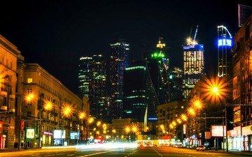 дорога, ночь, москва, город, небоскребы, движение, россия, здания, москва-сити