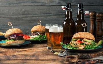 greens, hamburger, patty, beer, bottle, shrimp, bun, wooden surface