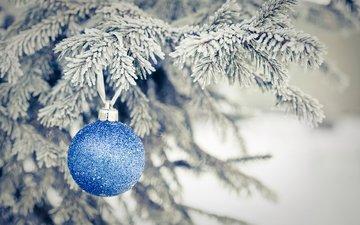 новый год, елка, хвоя, ветки, иней, шар, рождество