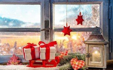 новый год, подарки, фонарь, окно, рождество
