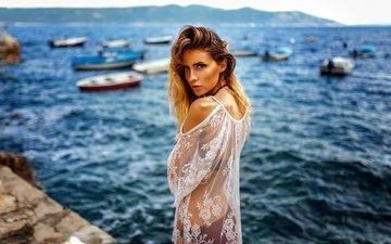 girl, sea, look, boats, model, hair, face, brown hair, miro hofmann, jessy