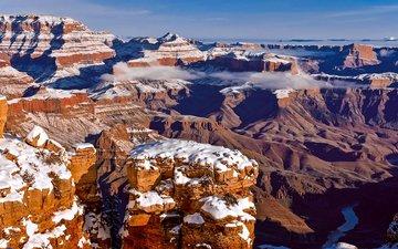 скалы, зима, пейзаж, grand canyon, штат аризона, pat kofahl