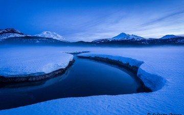 небо, река, горы, снег, природа, зима, пейзаж