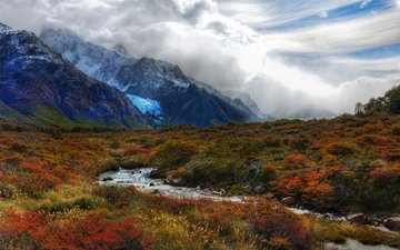 river, mountains, nature, forest, autumn, argentina, patagonia