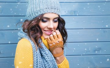 зима, девушка, шапка