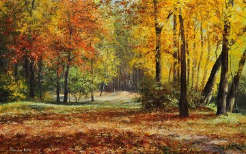 art, trees, leaves, picture, landscape, park, autumn, painting, małgorzata rawicka