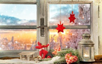 новый год, олень, украшения, хвоя, звезды, сердечко, фонарь, окно, рождество