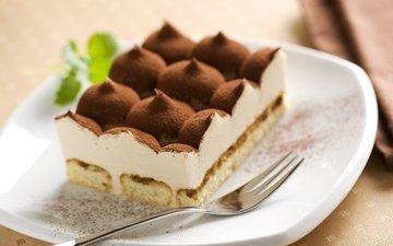 еда, сладкое, тарелка, десерт, какао, пирожное, тирамису, крем