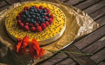 flowers, raspberry, maki, berries, blueberries, sweet, cake, dessert