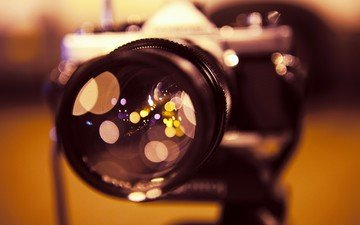light, reflection, glare, the camera, glass, camera, lens, bokeh