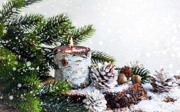 снег, новый год, хвоя, ветки, свеча, рождество, шишки