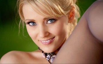 девушка, блондинка, улыбка, взгляд, модель, волосы, лицо, голубые глаза, carli banks