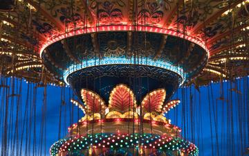 backlight, lighting, attraction, carousel