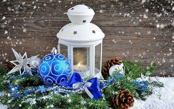снег, новый год, елка, шары, украшения, фонарь, рождество, шишки