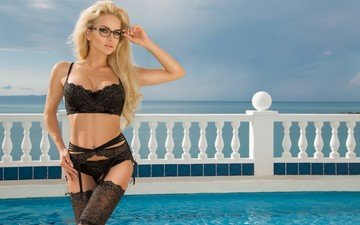 the sky, girl, blonde, glasses, model, pool, stockings, photoshoot, long hair, black lingerie