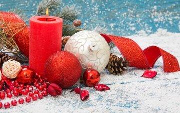 новый год, шары, свеча, рождество, елочные украшения