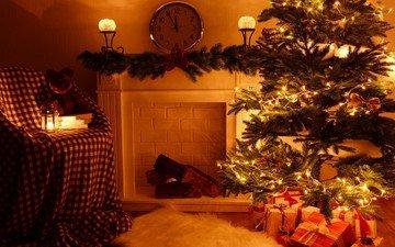 новый год, елка, подарки, рождество, гирлянда