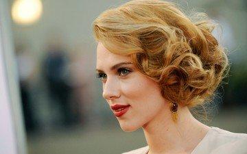 девушка, портрет, взгляд, модель, волосы, лицо, актриса, прическа, скарлет йохансон, красная помада, знаменитость