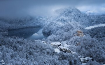 mountains, nature, forest, winter, castle, germany, bayern