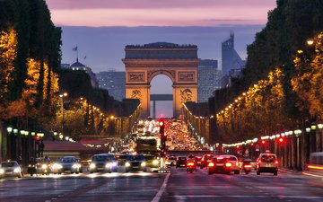 road, night, lights, the city, paris, street, arch, france