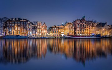 reflection, the city, channel, netherlands, amsterdam, holland