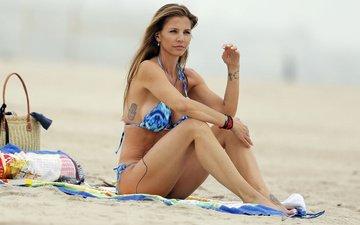 girl, pose, sand, beach, model, bikini, charisma carpenter