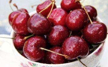 макро, капли, черешня, ягоды, вишня