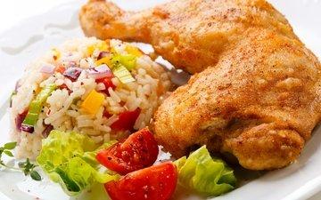 овощи, мясо, курица, рис, плов, куриная ножка