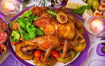 грибы, овощи, мясо, курица, петрушка