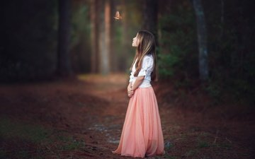 forest, mood, look, butterfly, girl, hair, face, child