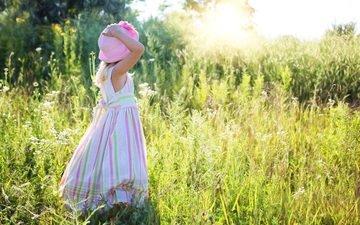 трава, растения, платье, лето, девочка, ребенок, шляпа, солнечный свет