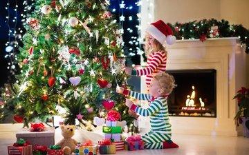 новый год, елка, украшения, подарки, дети, девочка, игрушки, мальчик, камин, праздник, рождество