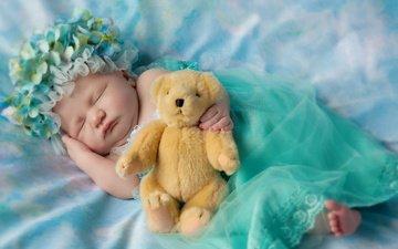 сон, дети, игрушка, ребенок, младенец, плюшевый медведь