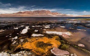 the sky, landscape, sea, beach, coast, laguna, chile, andes, atacama, pascal dellouve, paso jama