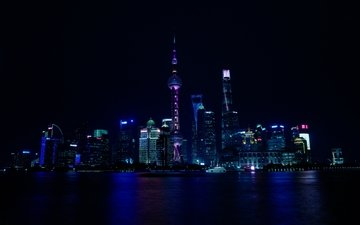 night, lights, the city, skyscrapers, shanghai, china