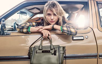 девушка, взгляд, волосы, сумочка, лицо, актриса, автомобиль, хлоя грейс морец, хлоя морец