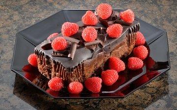 raspberry, berries, chocolate, sweet, cake, dessert