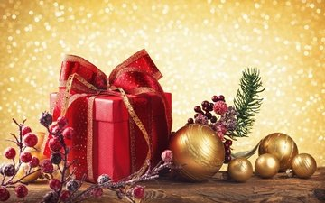new year, balls, gifts, toys, berries, holidays, christmas