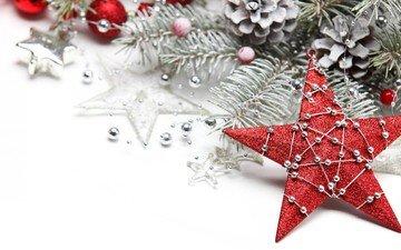 новый год, шары, украшения, звезды, рождество, шишки