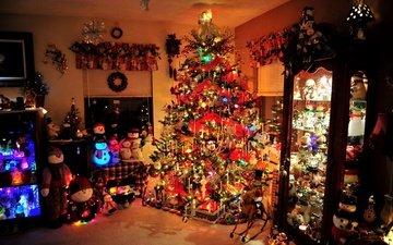 огни, елка, интерьер, дом, игрушки, праздники, рождество, снеговики