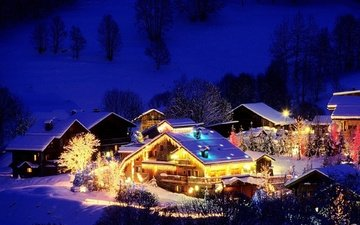 night, lights, mountains, snow, winter, village, house, christmas